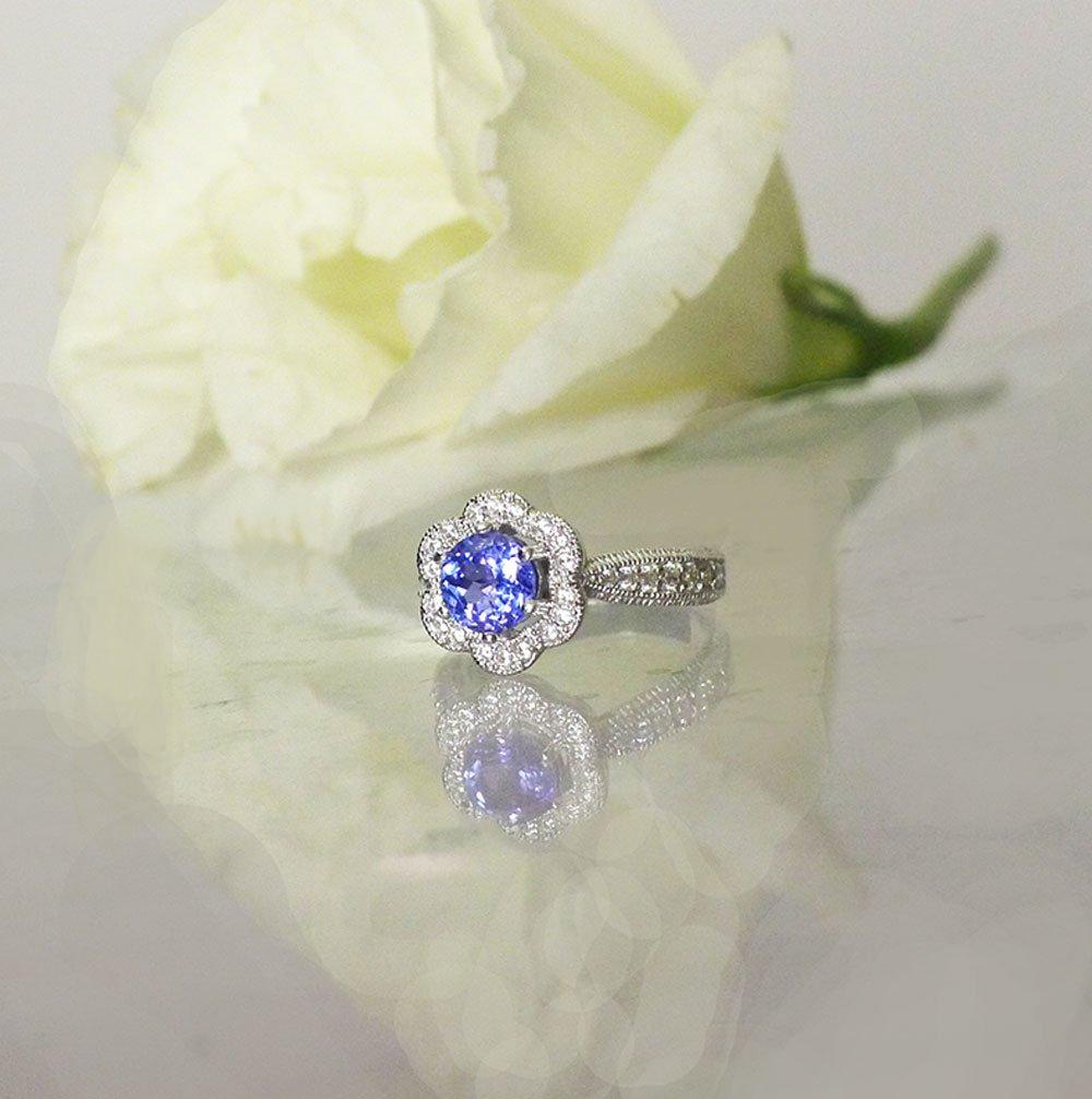 Tanzanite flower ring