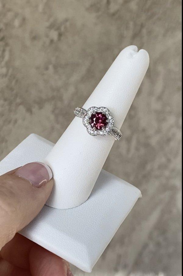 Garnet Flower Ring