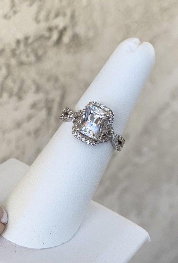Scissor Cut Sterling Herkimer Ring