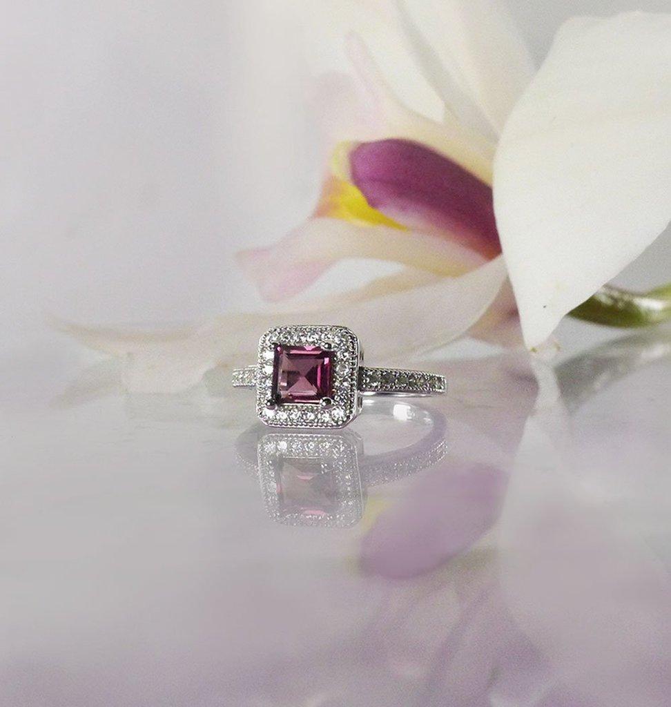 Square Pink Tourmaline Ring