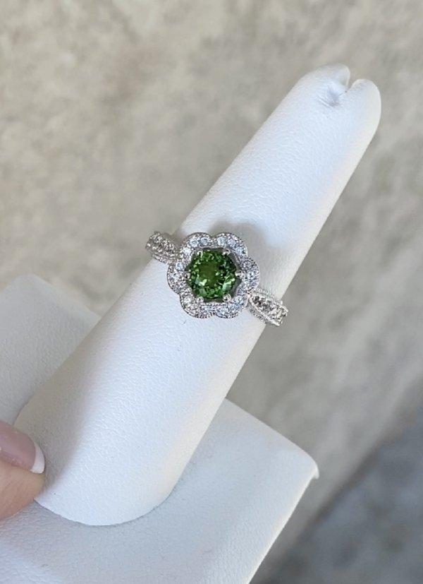Green Tourmaline Flower Ring