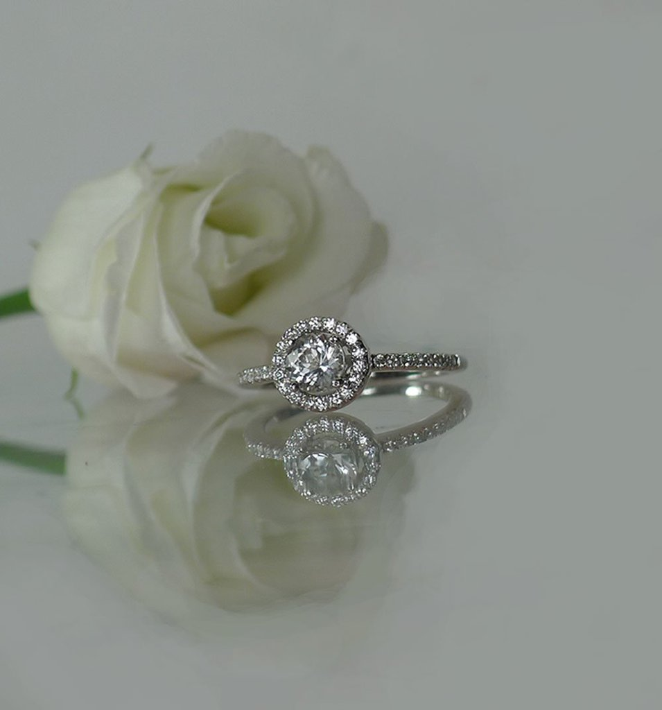 Dainty halo ring