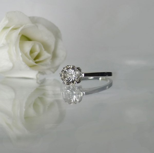 Octagon Herkimer Solitaire Ring