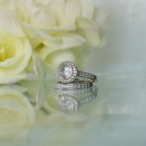 Herkimer Bezel Wedding Set