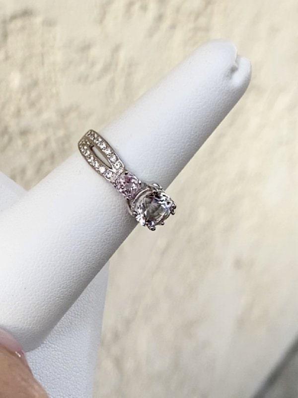Herkimer diamond morganite ring