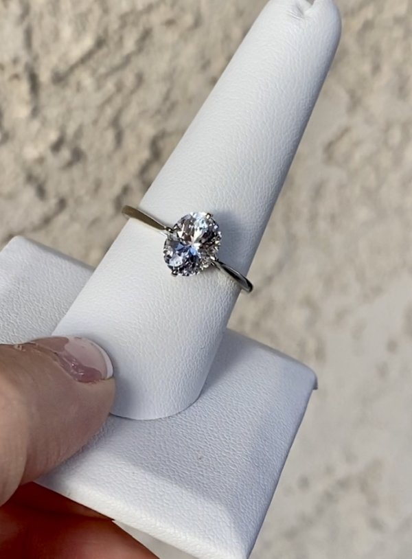 Oval white gold solitaire ring