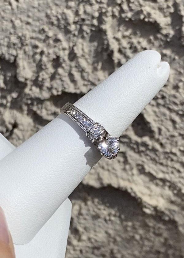 Dainty Art Deco Herkimer Ring