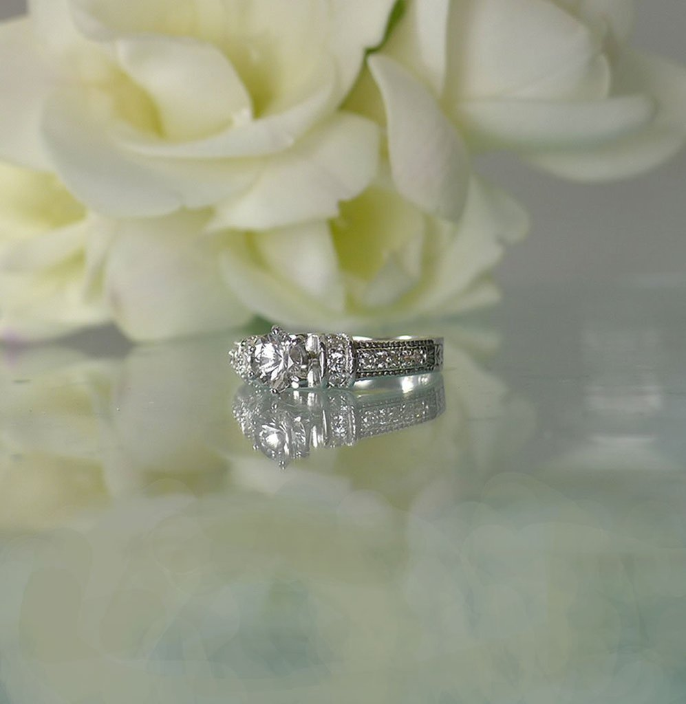 Dainty Art Deco Herkimer Ring