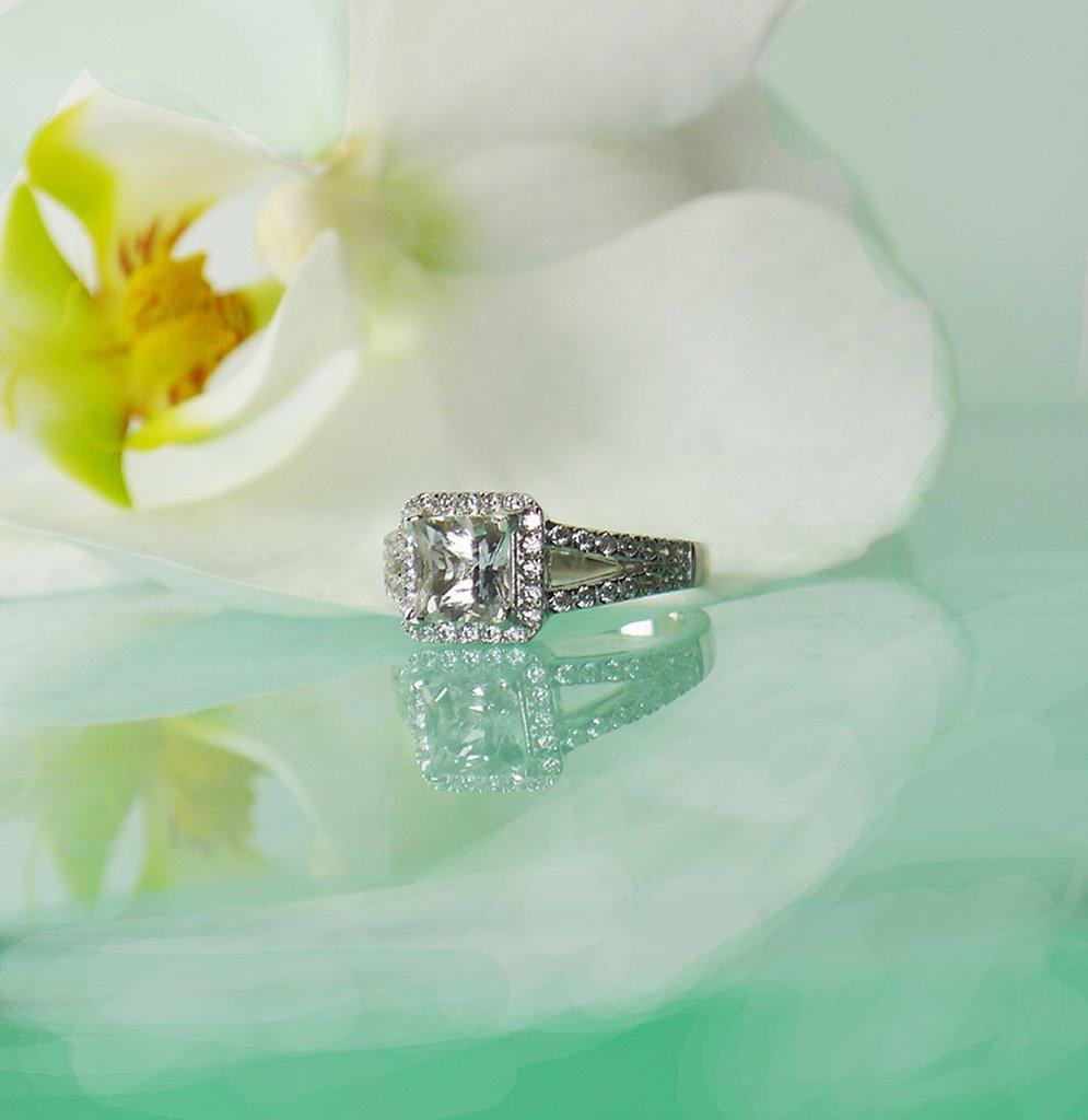 Champagne princess cut herkimer ring