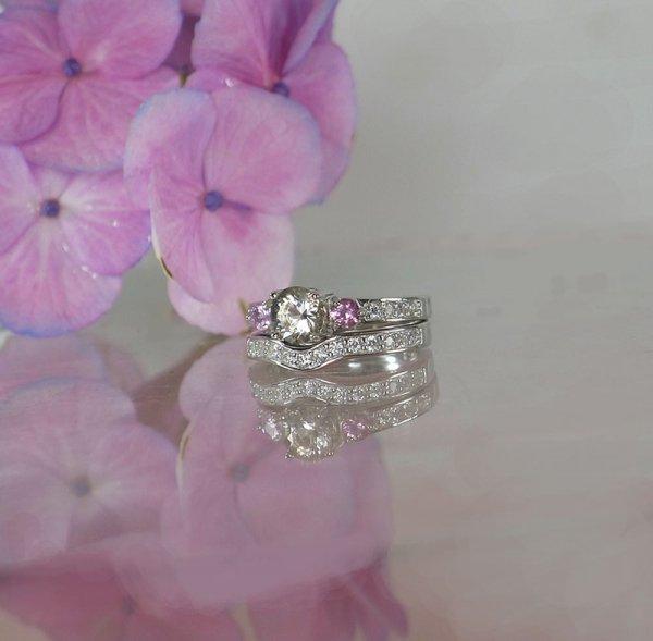 Herkimer Pink Sapphire Wedding Set