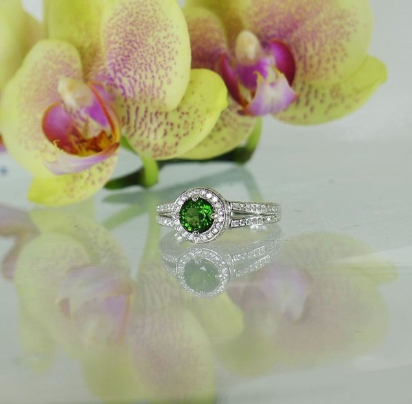 Green Tourmaline Sterling Halo Ring