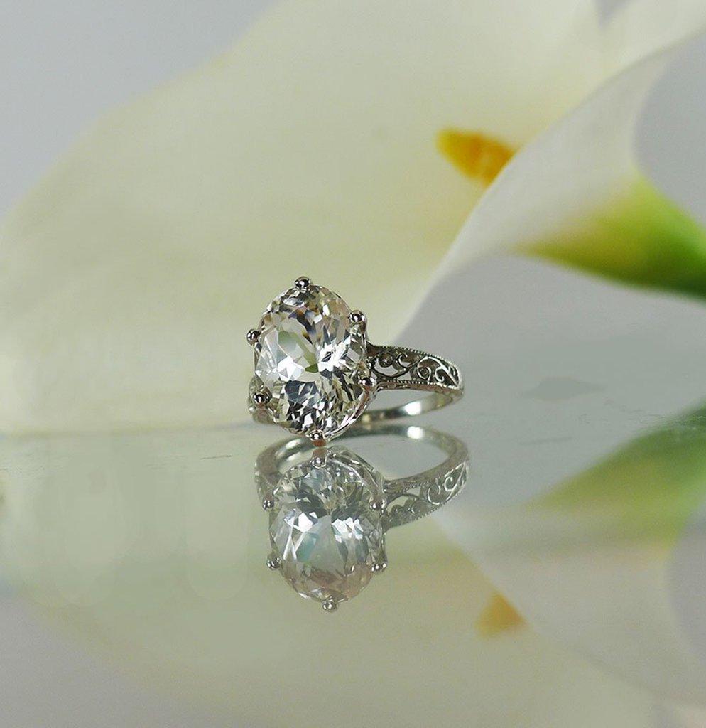 Handmade Oval White Gold Ring