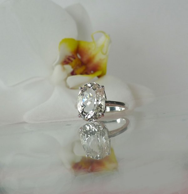 Large Herkimer Oval Cut Ring