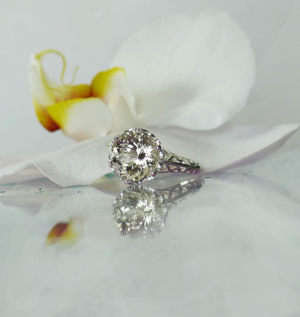 Solitaire Champagne Herkimer Ring