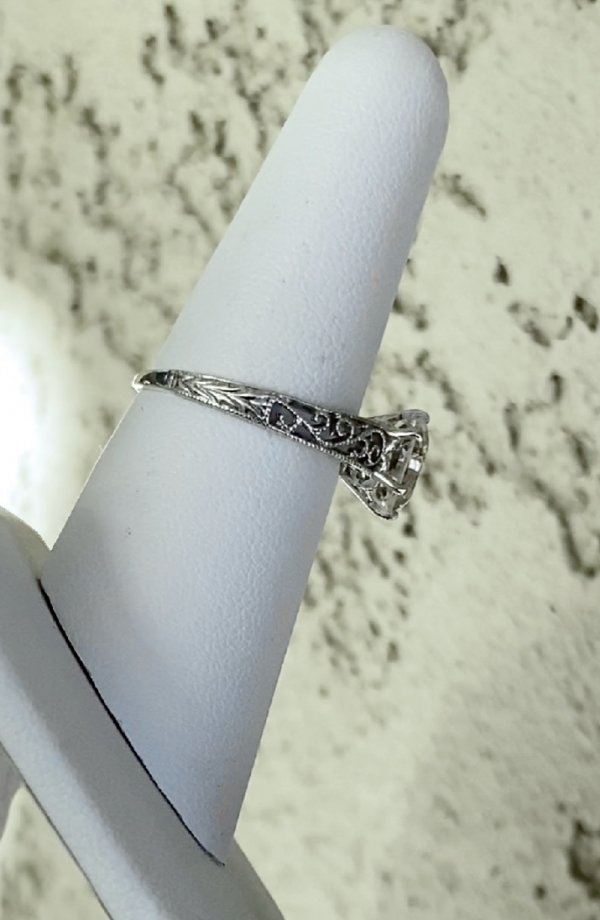 Octagon herkimer filigree solitaire ring