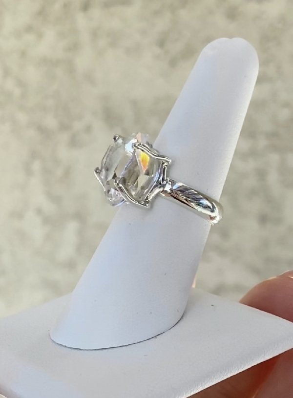 Clear Raw Herkimer Ring