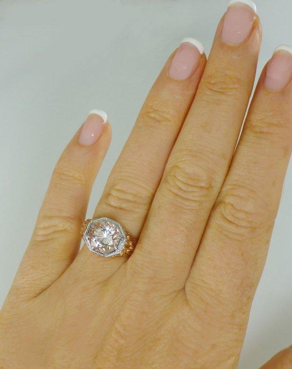 Rose Gold White Gold Herkimer Ring