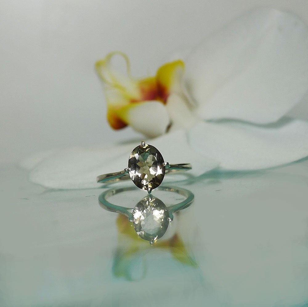 Champagne solitaire herkimer ring
