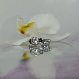 Herkimer Green Tourmaline Wedding Set