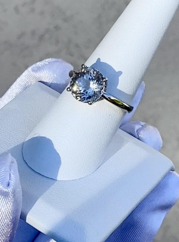 Round cut herkimer white gold ring
