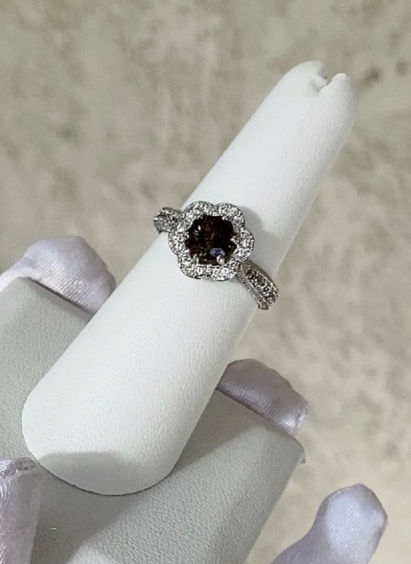 Dark Champagne Herkimer Flower Ring