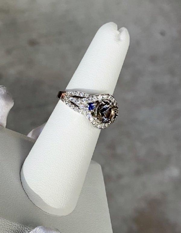 Herkimer Sapphire Halo Ring