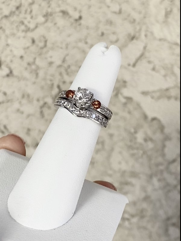 Herkimer Grossular Garnet Wedding Set