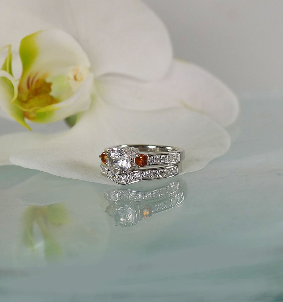 Herkimer Grossular Garnet Wedding Set