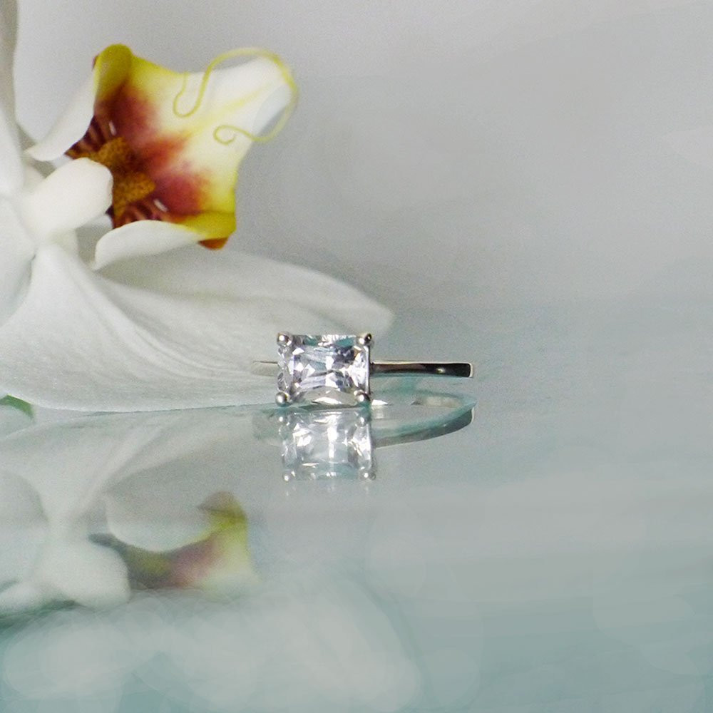 Solitaire Engagement Ring East West Ring Herkimer Diamond Ring Solitaire Rings East West Engagement Ring