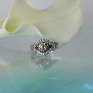 Herkimer Sapphire Halo Ring