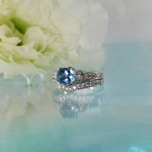 Natural aquamarine wedding set