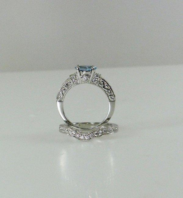 Natural aquamarine wedding set