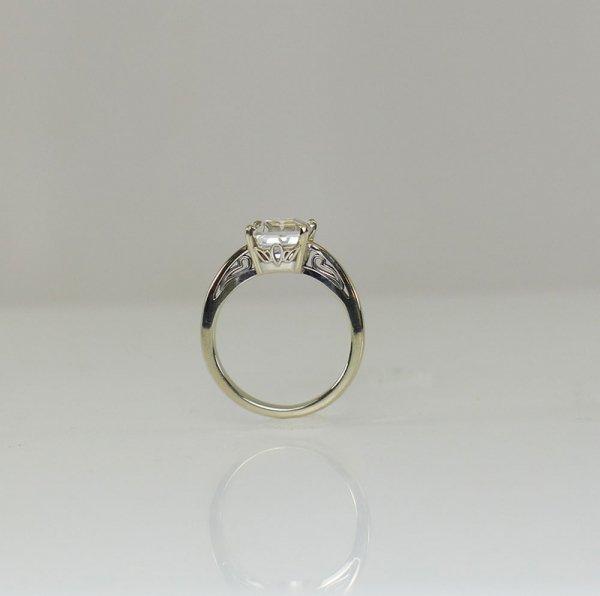 Emerald cut herkimer white gold ring