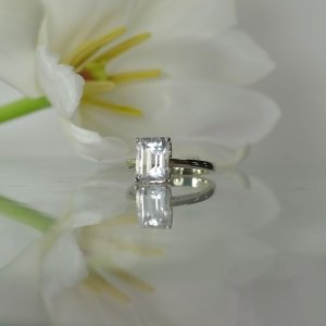 Emerald cut herkimer white gold ring