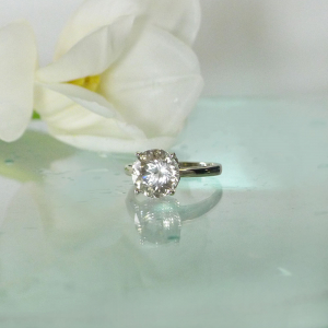 Round cut herkimer white gold ring