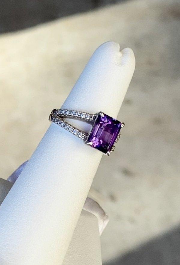 Amethyst Emerald Cut Ring
