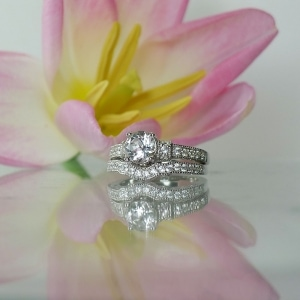 White Topaz Sterling Wedding Set