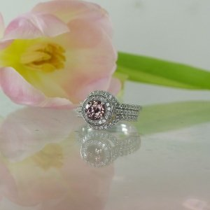 Zircon halo wedding set