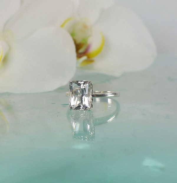 Herkimer scissor cut sterling ring