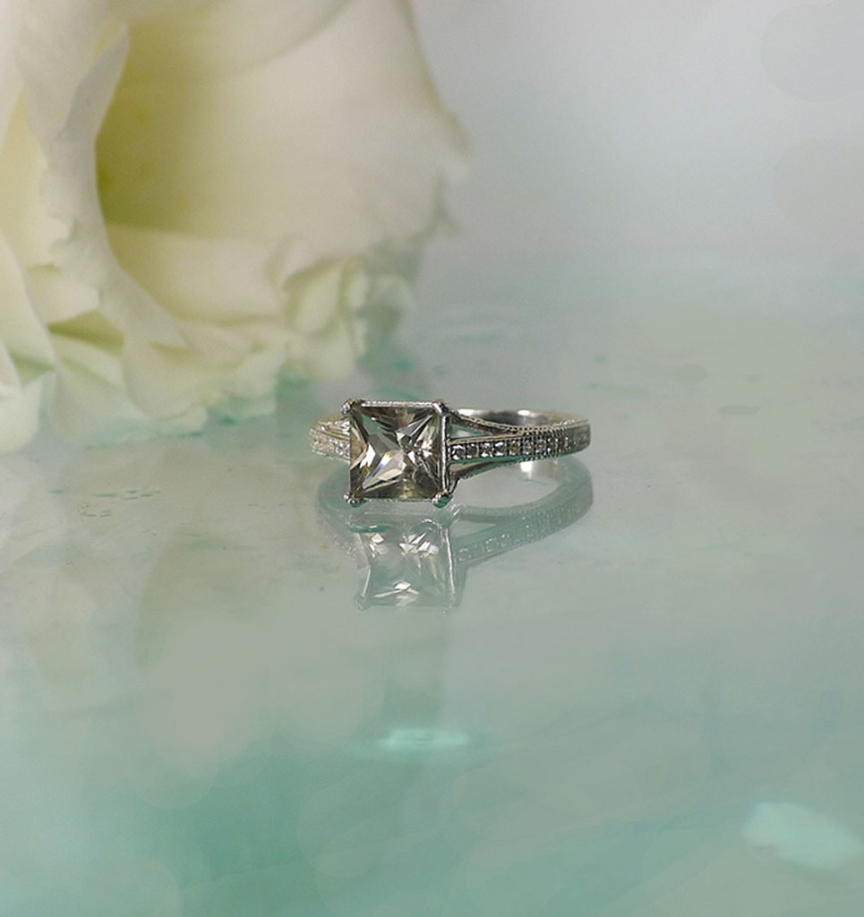 Champagne Square Herkimer Ring
