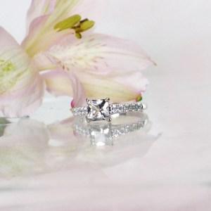 Petite square herkimer ring