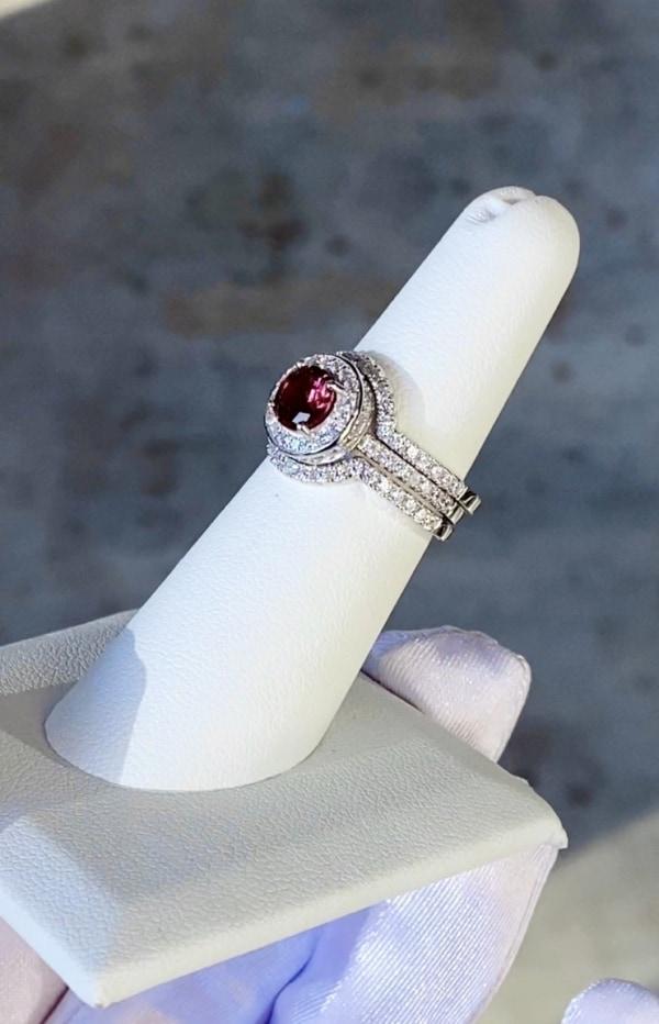 Red Tourmaline Halo Wedding Set