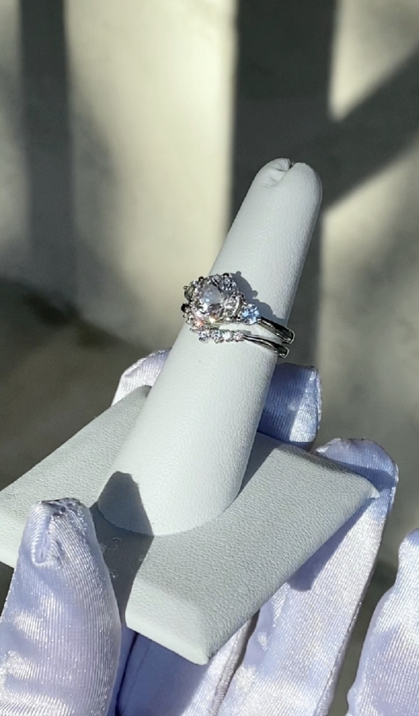 Herkimer Aquamarine Engagement Set