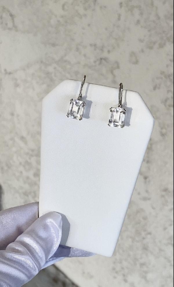 Herkimer Emerald Cut Earrings