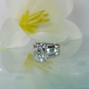 Herkimer white gold wedding set