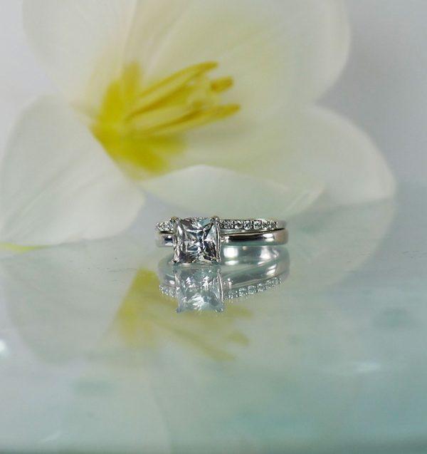 Herkimer white gold wedding set
