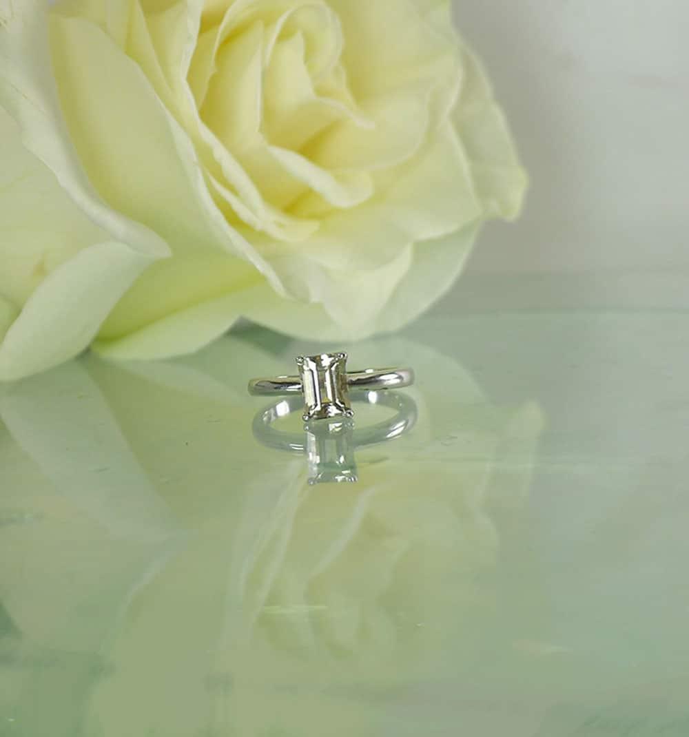 Champagne Emerald Cut Herkimer Ring