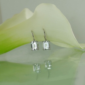 Herkimer Emerald Cut Earrings