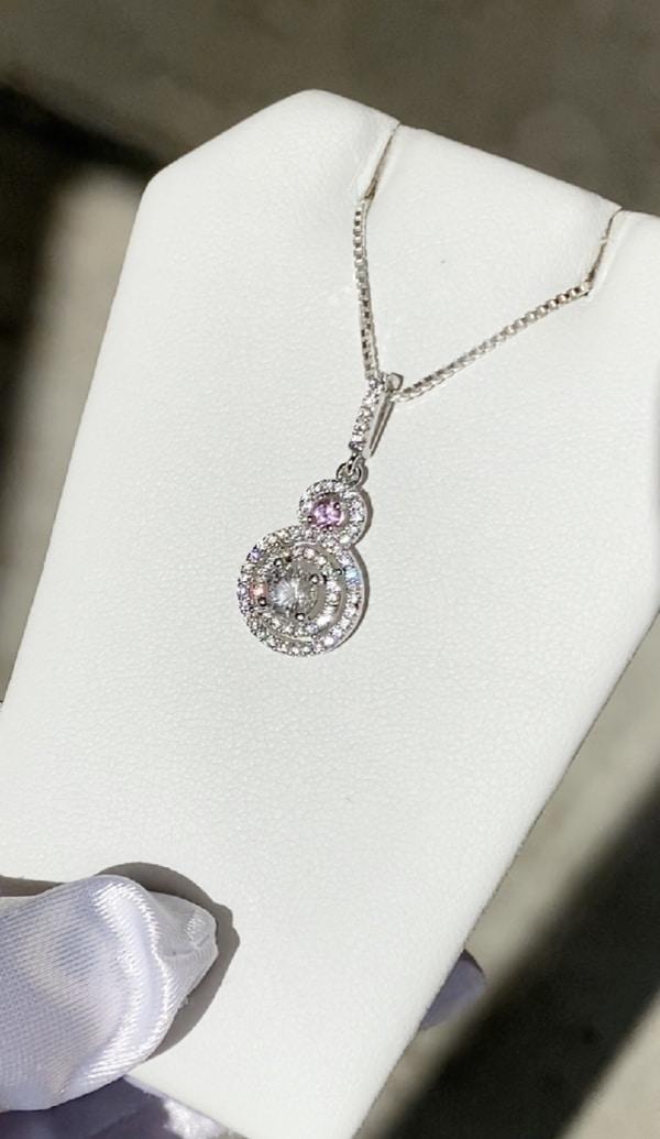 Herkimer diamond pink sapphire necklace