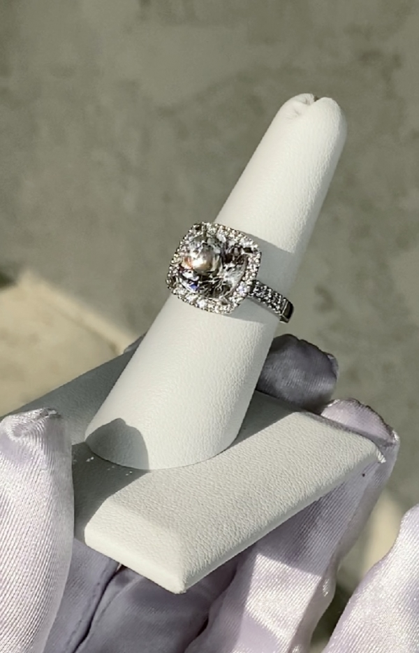 Large herkimer round halo ring